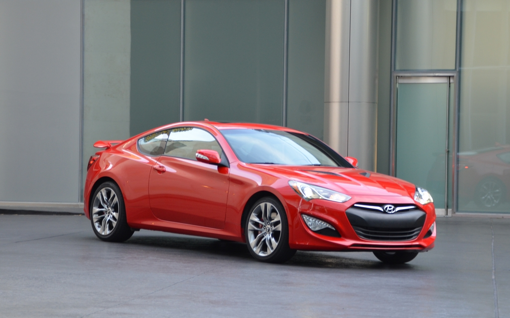 2013 Hyundai Genesis Coupe. The front section is a lot more aggressive, but not everyone likes the black fenders.