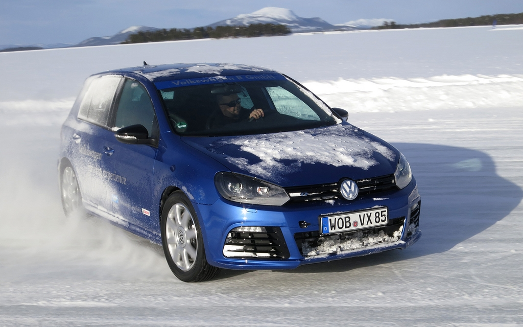 The Volkswagen Golf R on the Lullebadne Lake in Sweden