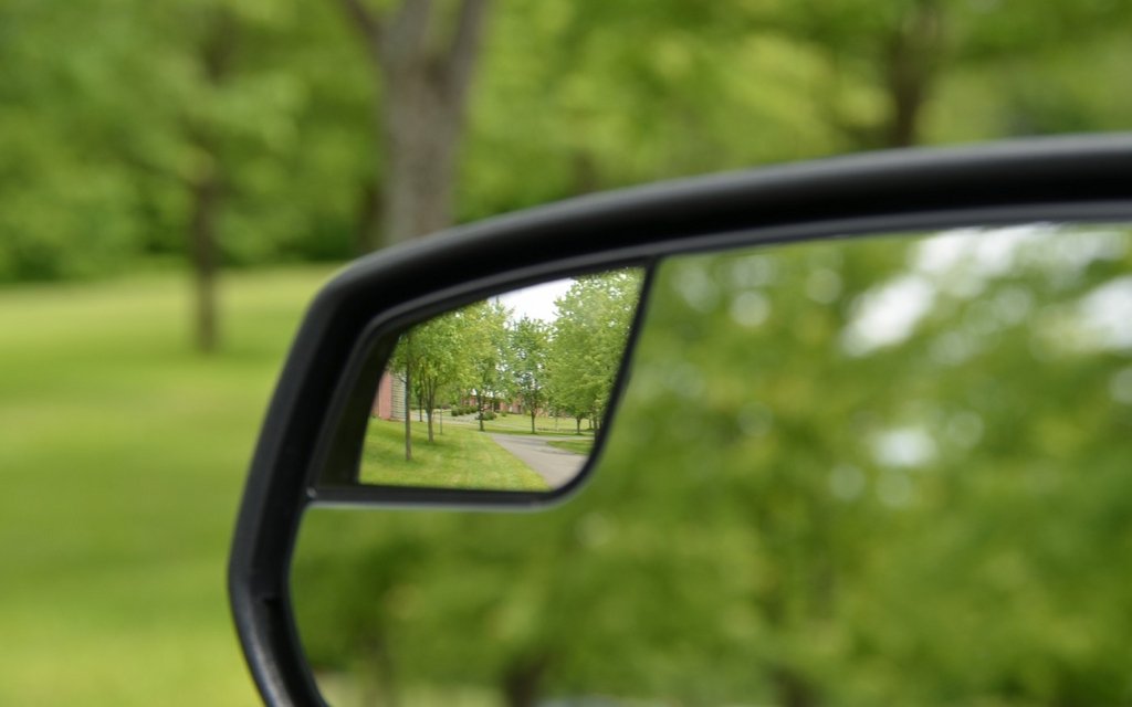 The exterior rearview mirrors of all Mustangs have these small convex ...