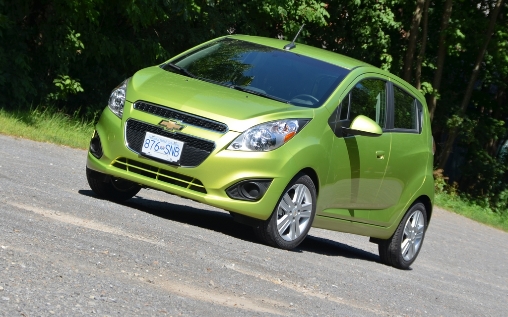 2013 Chevrolet Spark. Offered in eight colours, including Jalapeno green. Among the less ordinary colours, there's lemonade yellow, denim blue, techno rose and salsa red.
