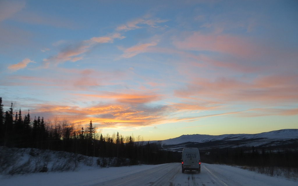 The beauty of driving into an Alaskan sunrise cannot be overstated.