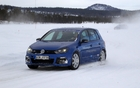 Colleague John LeBlanc's turn to put the Golf R through its paces on one of the icy trails