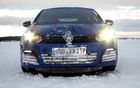 A Golf R lost its stone shield diving into a trailside snow bank