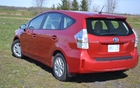 The Prius V is longer than the regular Prius and has a wagon-inspired tailend