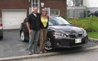 Martin Lessard and Céline Huneault in front of the Lexus CT200h that they test drove for two weeks.