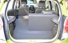 The 40/60 fold-down seatbacks create a total capacity of 883 litres versus 473 for the Scion iQ and 770 for the Fiat 500.