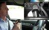 Le conducteur vu et analysé par la caméra derrière le volant
